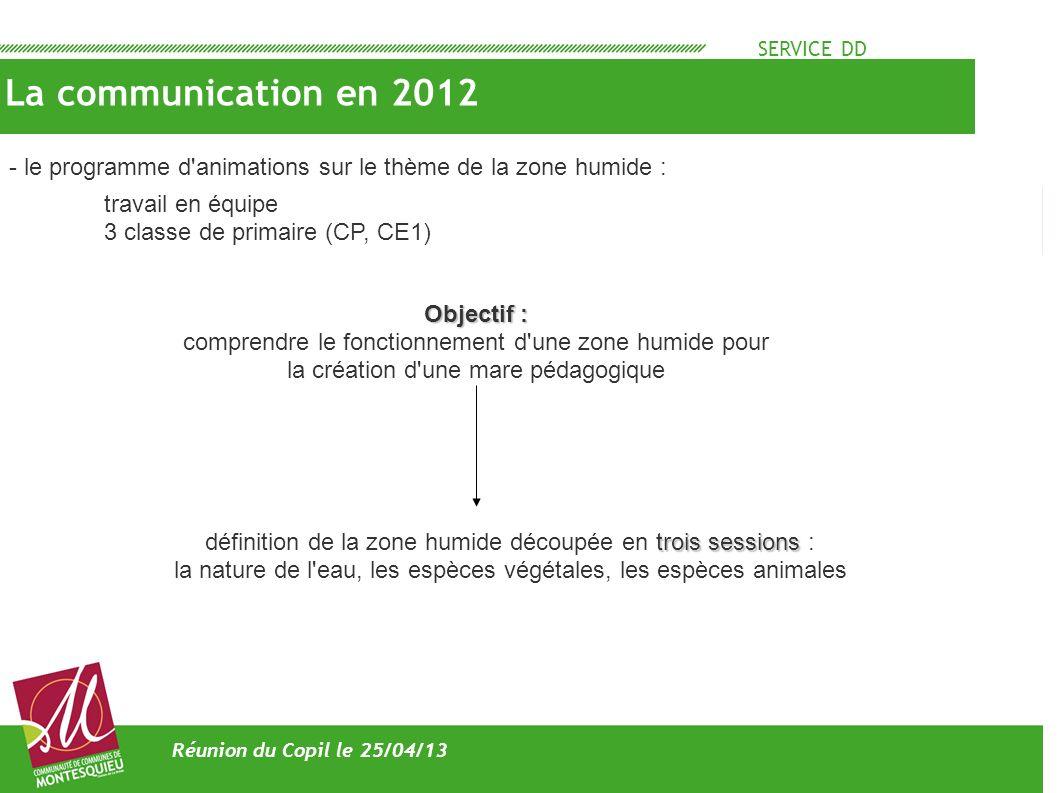 SERVICE DD La communication en 2012 Réunion du Copil le 25/04/13 travail en équipe 3 classe de primaire (CP, CE1) - le programme d'animations sur le t