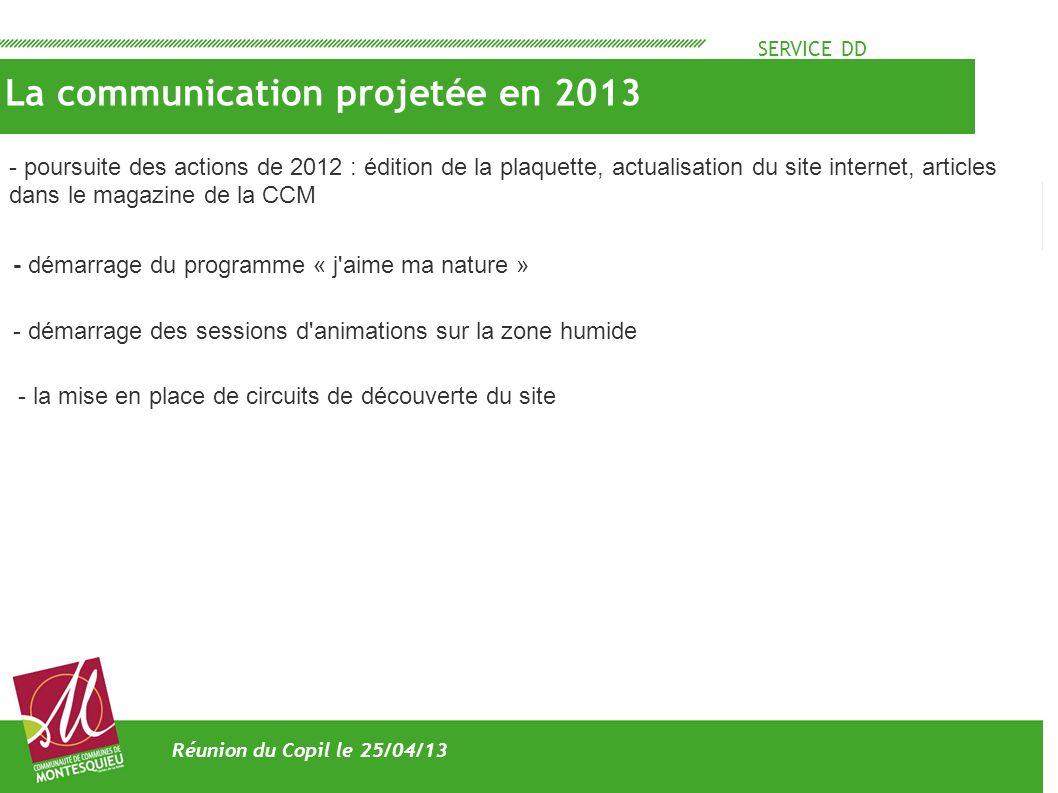 SERVICE DD La communication projetée en 2013 Réunion du Copil le 25/04/13 - poursuite des actions de 2012 : édition de la plaquette, actualisation du