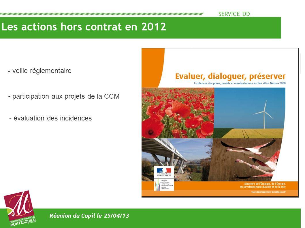 SERVICE DD Les actions hors contrat en 2012 Réunion du Copil le 25/04/13 - veille réglementaire - participation aux projets de la CCM - évaluation des