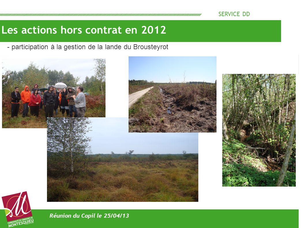SERVICE DD Les actions hors contrat en 2012 Réunion du Copil le 25/04/13 - participation à la gestion de la lande du Brousteyrot