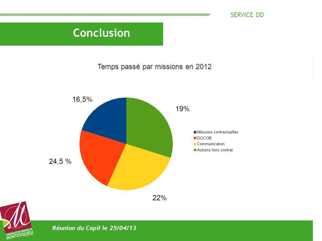 SERVICE DD Conclusion Réunion du Copil le 25/04/13 Temps passé par missions en 2012 16,5% 19% 22% 24,5 %