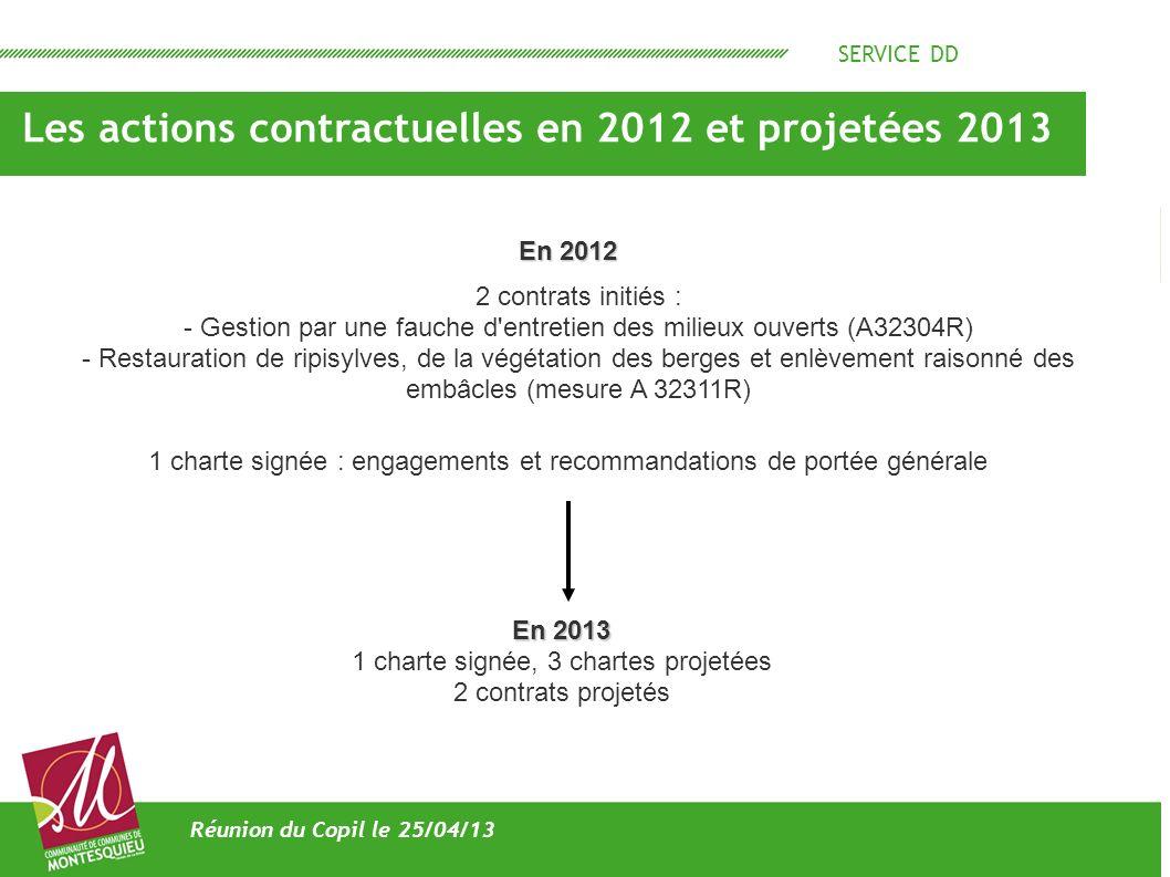 SERVICE DD Les actions contractuelles en 2012 et projetées 2013 Réunion du Copil le 25/04/13 2 contrats initiés : - Gestion par une fauche d'entretien