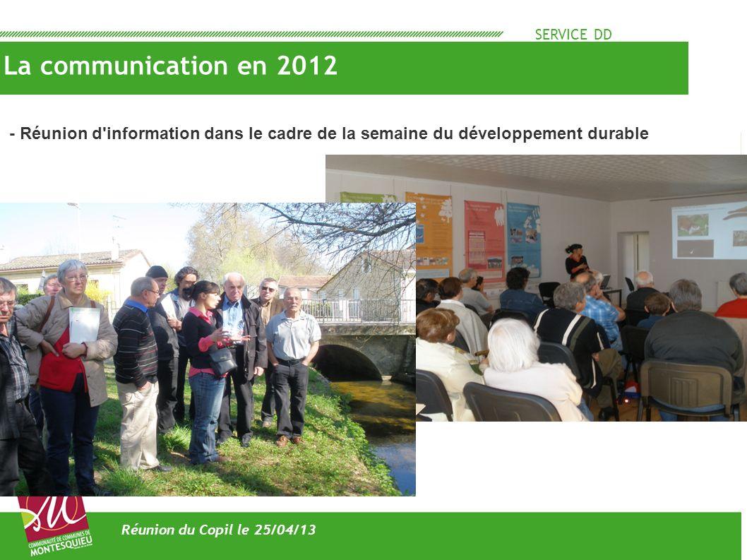 SERVICE DD La communication en 2012 Réunion du Copil le 25/04/13 - Articles dans le magasine de la CMM « l esprit communautaire - la plaquette de présentation du site natura