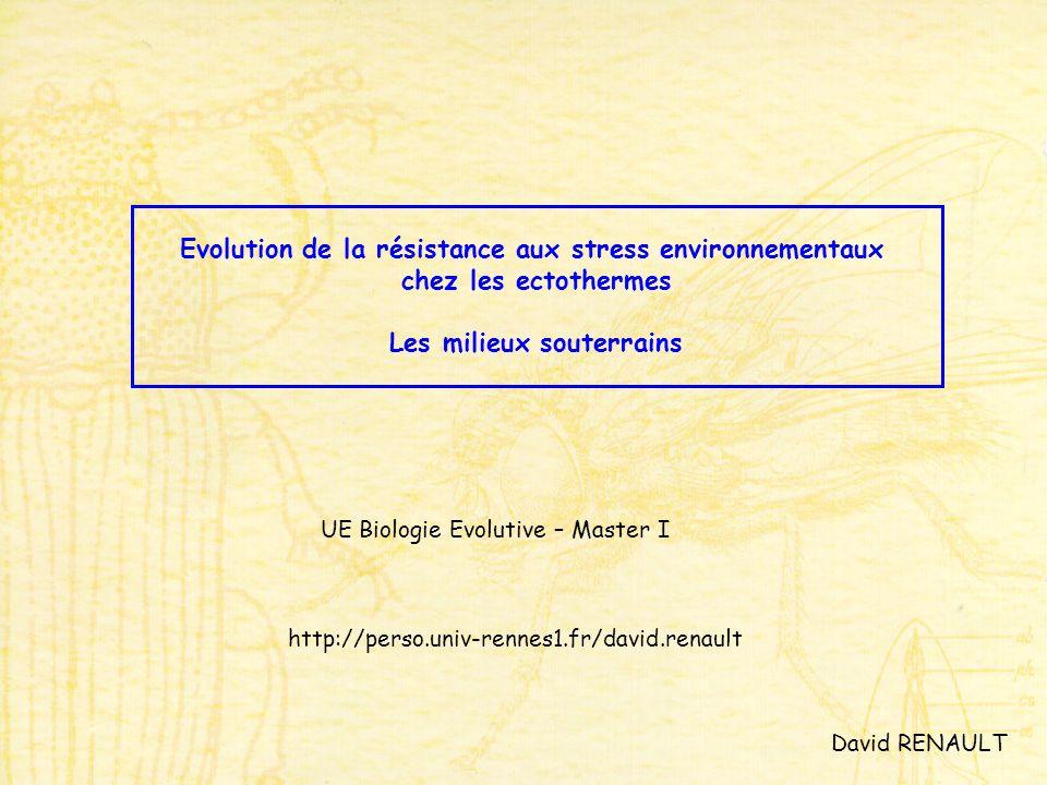Evolution de la résistance aux stress environnementaux chez les ectothermes Les milieux souterrains UE Biologie Evolutive – Master I David RENAULT htt