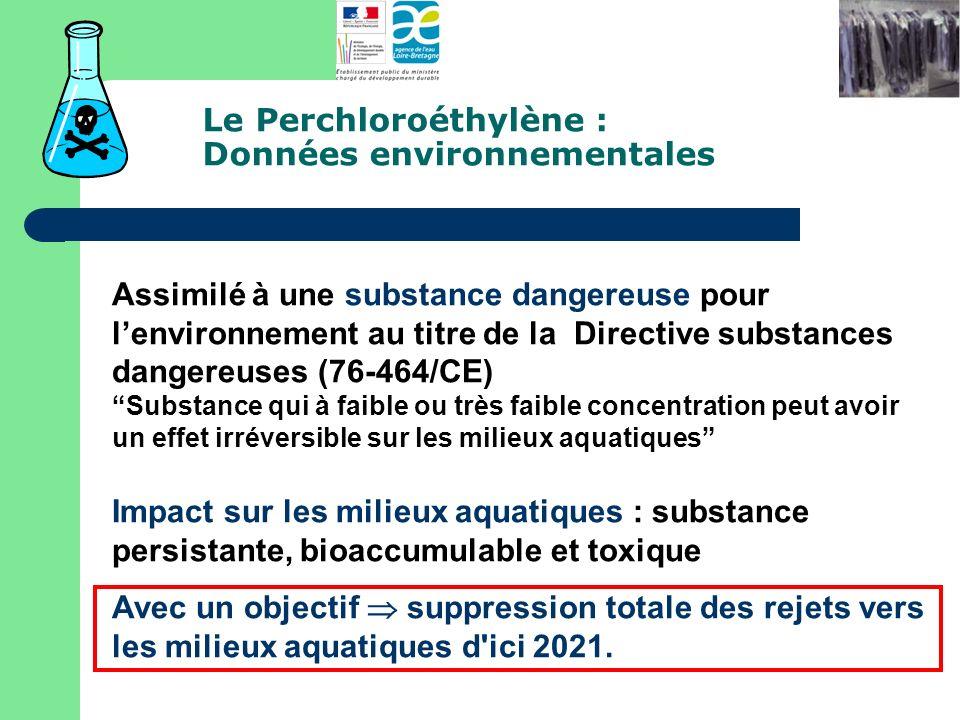 Le Perchloroéthylène : Données environnementales Assimilé à une substance dangereuse pour lenvironnement au titre de la Directive substances dangereus