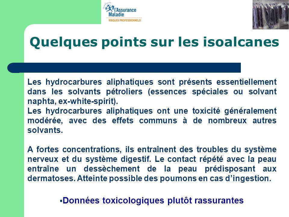 Quelques points sur les isoalcanes Les hydrocarbures aliphatiques sont présents essentiellement dans les solvants pétroliers (essences spéciales ou so