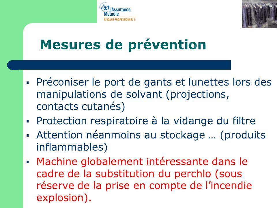 Mesures de prévention Préconiser le port de gants et lunettes lors des manipulations de solvant (projections, contacts cutanés) Protection respiratoir