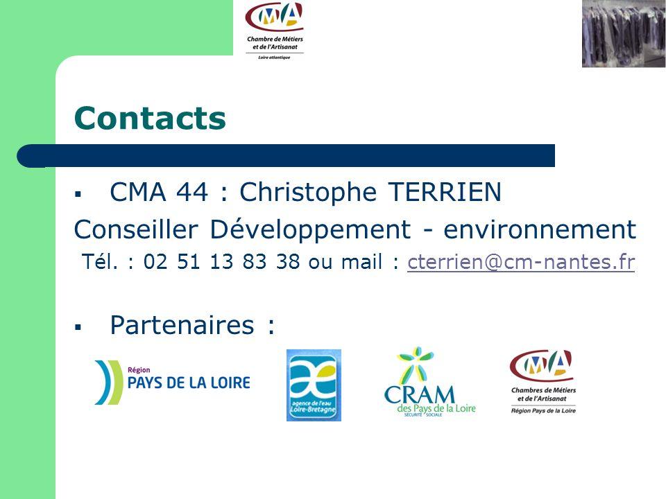 Contacts CMA 44 : Christophe TERRIEN Conseiller Développement - environnement Tél. : 02 51 13 83 38 ou mail : cterrien@cm-nantes.frcterrien@cm-nantes.