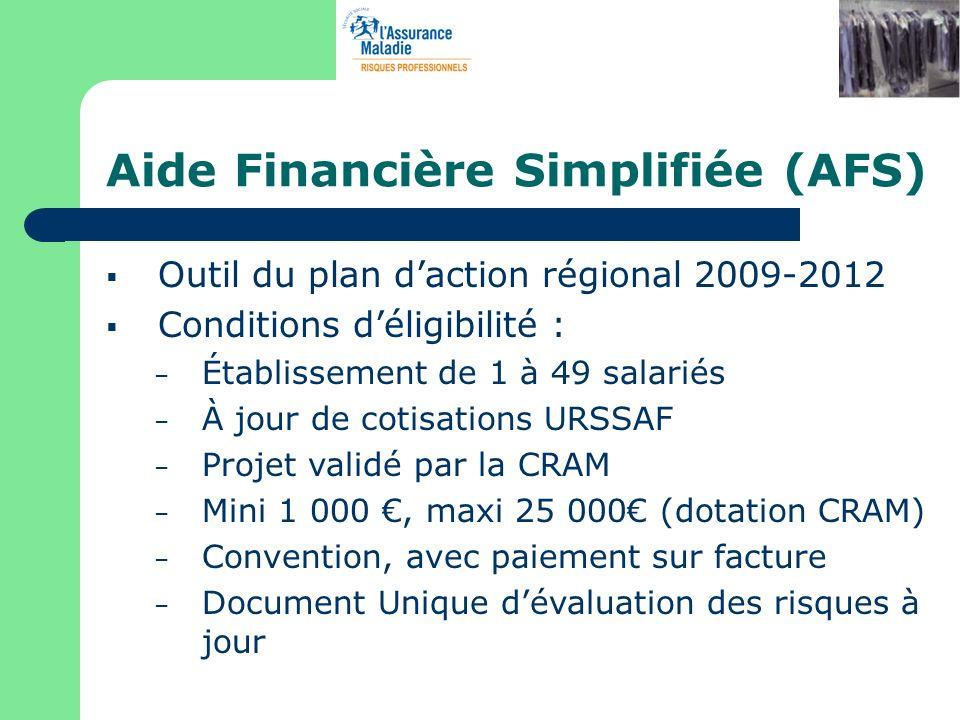 Aide Financière Simplifiée (AFS) Outil du plan daction régional 2009-2012 Conditions déligibilité : – Établissement de 1 à 49 salariés – À jour de cot