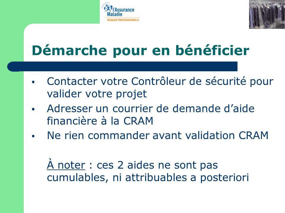 Démarche pour en bénéficier Contacter votre Contrôleur de sécurité pour valider votre projet Adresser un courrier de demande daide financière à la CRA