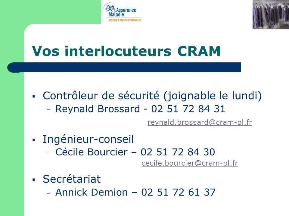 Vos interlocuteurs CRAM Contrôleur de sécurité (joignable le lundi) – Reynald Brossard - 02 51 72 84 31 reynald.brossard@cram-pl.fr Ingénieur-conseil