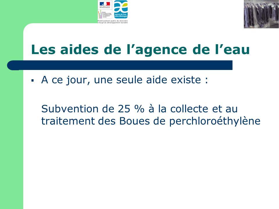 Les aides de lagence de leau A ce jour, une seule aide existe : Subvention de 25 % à la collecte et au traitement des Boues de perchloroéthylène