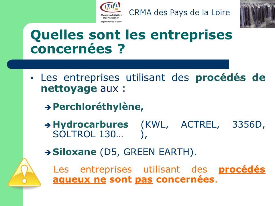Quelles sont les entreprises concernées ? Les entreprises utilisant des procédés de nettoyage aux : Perchloréthylène, Hydrocarbures (KWL, ACTREL, 3356