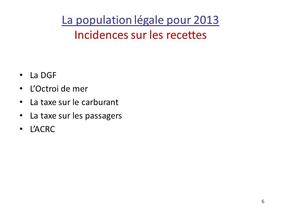 La population légale pour 2013 Incidences sur les recettes La DGF LOctroi de mer La taxe sur le carburant La taxe sur les passagers LACRC 6