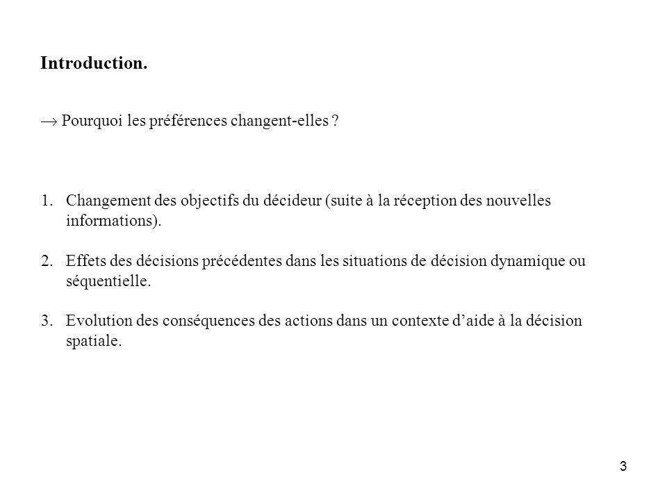 3 Introduction. Pourquoi les préférences changent-elles ? 1.Changement des objectifs du décideur (suite à la réception des nouvelles informations). 2.