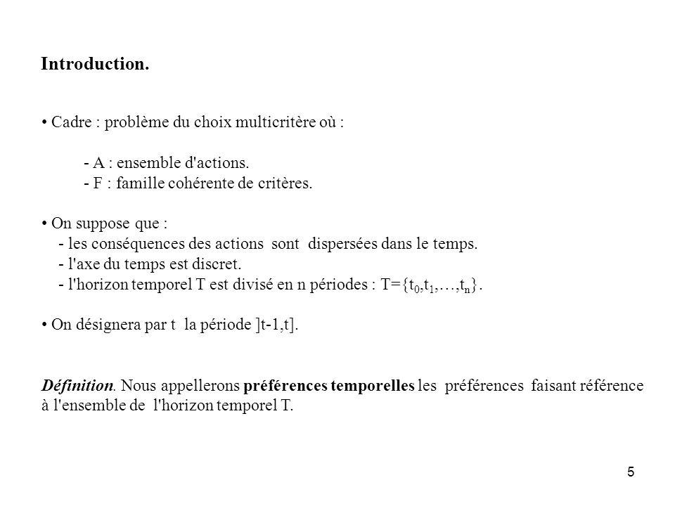 5 Introduction. Cadre : problème du choix multicritère où : - A : ensemble d'actions. - F : famille cohérente de critères. On suppose que : - les cons