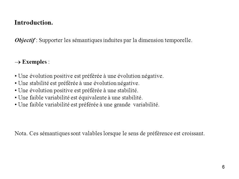 6 Introduction. Objectif : Supporter les sémantiques induites par la dimension temporelle. Exemples : Une évolution positive est préférée à une évolut