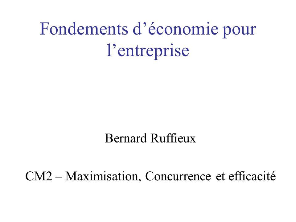 Fondements déconomie pour lentreprise Bernard Ruffieux CM2 – Maximisation, Concurrence et efficacité