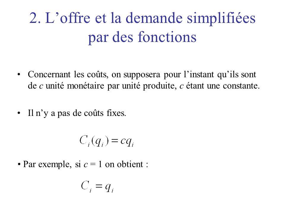 2. Loffre et la demande simplifiées par des fonctions Concernant les coûts, on supposera pour linstant quils sont de c unité monétaire par unité produ