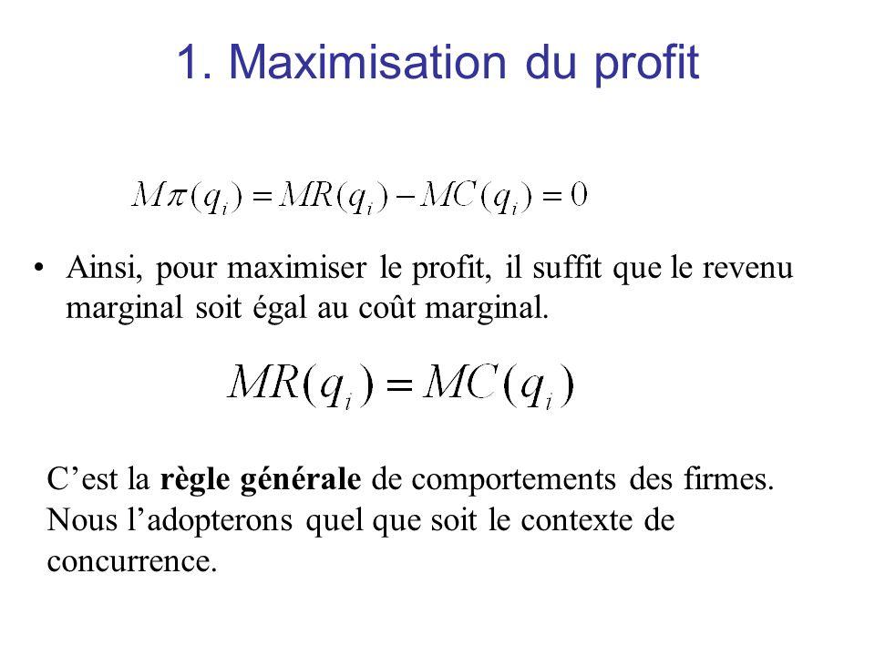 1. Maximisation du profit Ainsi, pour maximiser le profit, il suffit que le revenu marginal soit égal au coût marginal. Cest la règle générale de comp
