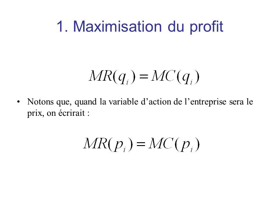1. Maximisation du profit Notons que, quand la variable daction de lentreprise sera le prix, on écrirait :