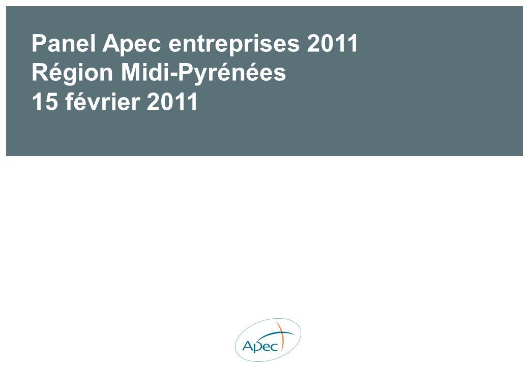 Panel Apec entreprises 2011 Région Midi-Pyrénées 15 février 2011