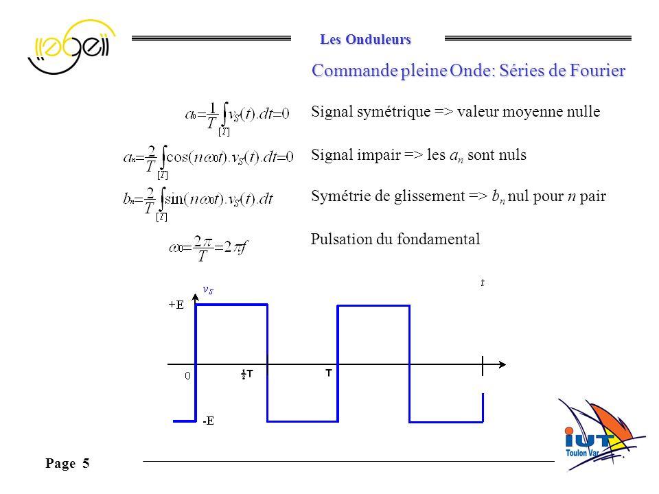 Les Onduleurs Page 5 Commande pleine Onde: Séries de Fourier Signal symétrique => valeur moyenne nulle Signal impair => les a n sont nuls Symétrie de