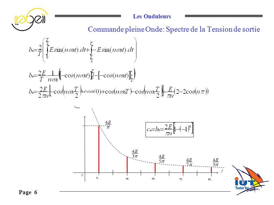 Les Onduleurs Page 6 Commande pleine Onde: Spectre de la Tension de sortie f v kmax F1F1 0 3F 1 5F 1 7F 1 9F 1
