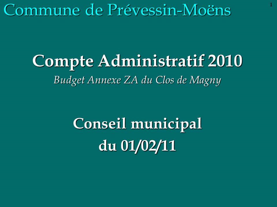 Commune de Prévessin-Moëns Compte Administratif 2010 Budget Annexe ZA du Clos de Magny Conseil municipal du 01/02/11 1