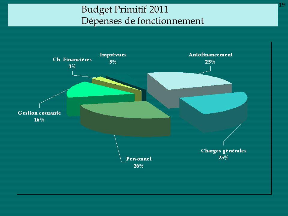 Budget Primitif 2011 Dépenses de fonctionnement 19