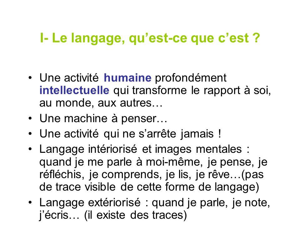 I- Le langage, quest-ce que cest ? Une activité humaine profondément intellectuelle qui transforme le rapport à soi, au monde, aux autres… Une machine
