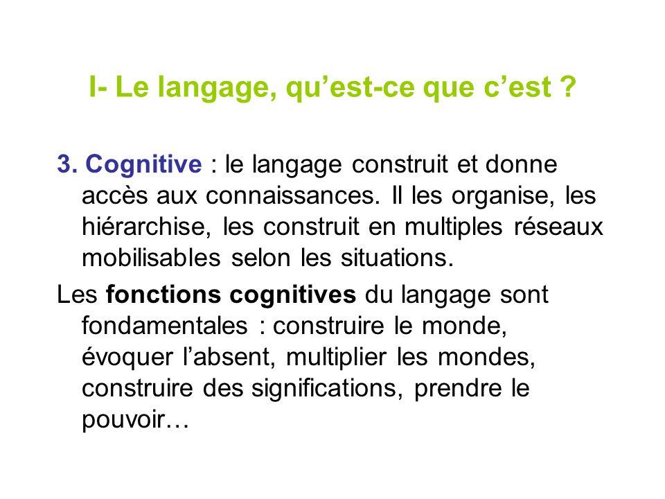 I- Le langage, quest-ce que cest ? 3. Cognitive : le langage construit et donne accès aux connaissances. Il les organise, les hiérarchise, les constru