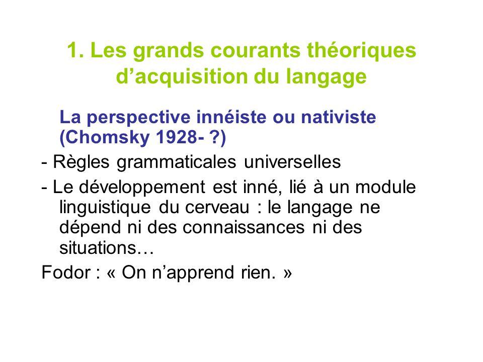 1. Les grands courants théoriques dacquisition du langage La perspective innéiste ou nativiste (Chomsky 1928- ?) - Règles grammaticales universelles -