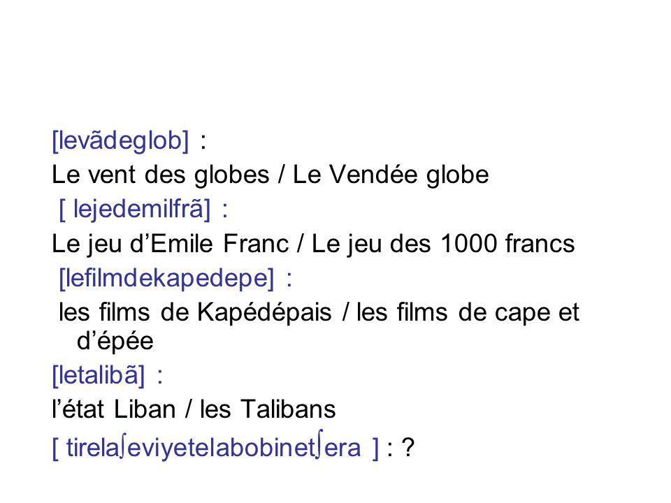 [levãdeglob] : Le vent des globes / Le Vendée globe [ lejedemilfrã] : Le jeu dEmile Franc / Le jeu des 1000 francs [lefilmdekapedepe] : les films de K