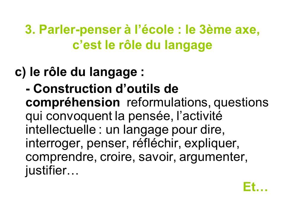 3. Parler-penser à lécole : le 3ème axe, cest le rôle du langage c) le rôle du langage : - Construction doutils de compréhension reformulations, quest