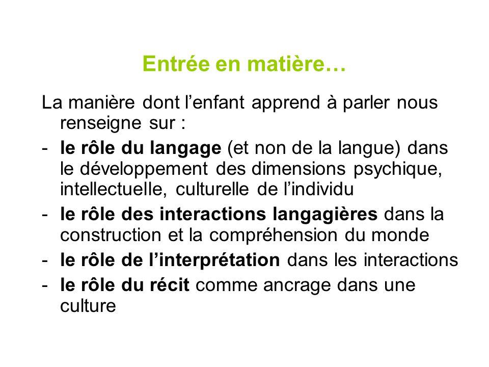 Entrée en matière… La manière dont lenfant apprend à parler nous renseigne sur : -le rôle du langage (et non de la langue) dans le développement des d