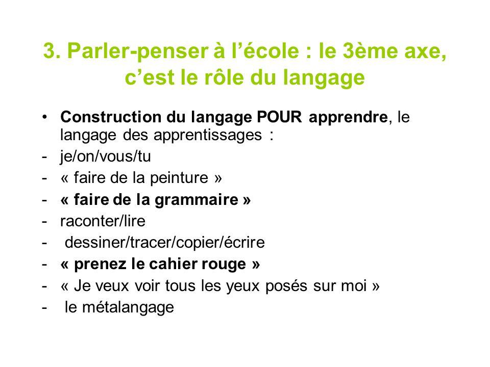 3. Parler-penser à lécole : le 3ème axe, cest le rôle du langage Construction du langage POUR apprendre, le langage des apprentissages : -je/on/vous/t