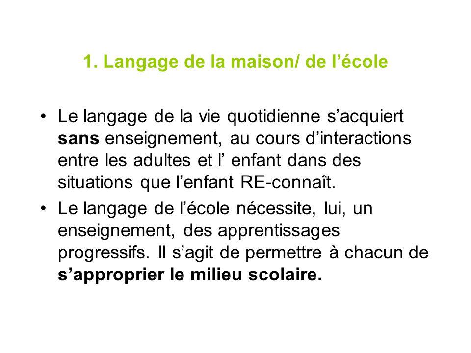 1. Langage de la maison/ de lécole Le langage de la vie quotidienne sacquiert sans enseignement, au cours dinteractions entre les adultes et l enfant