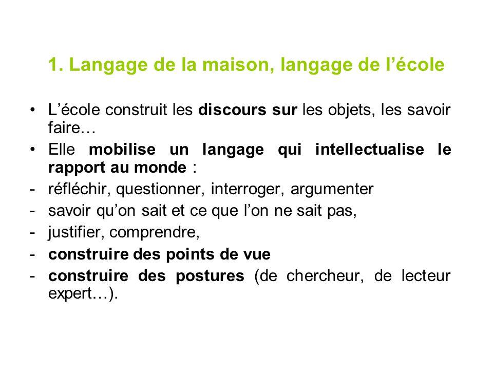 1. Langage de la maison, langage de lécole Lécole construit les discours sur les objets, les savoir faire… Elle mobilise un langage qui intellectualis