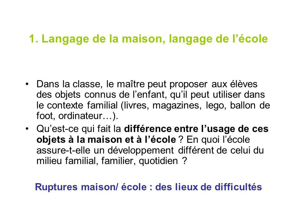 1. Langage de la maison, langage de lécole Dans la classe, le maître peut proposer aux élèves des objets connus de lenfant, quil peut utiliser dans le