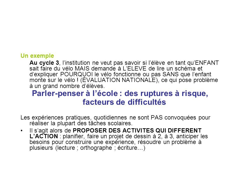 Un exemple Au cycle 3, linstitution ne veut pas savoir si lélève en tant quENFANT sait faire du vélo MAIS demande à LELEVE de lire un schéma et dexpli