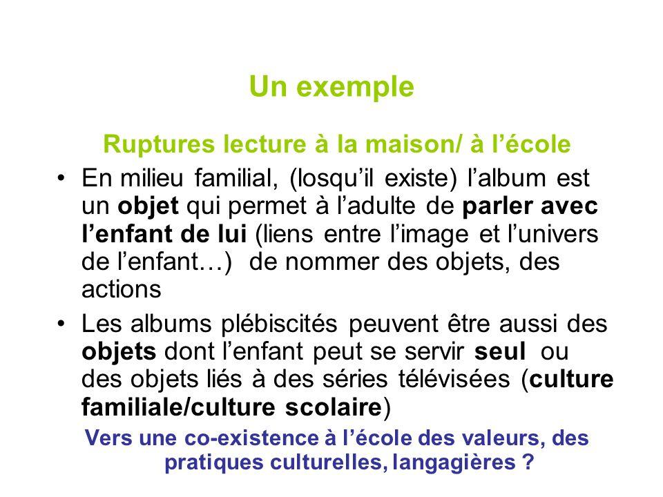 Un exemple Ruptures lecture à la maison/ à lécole En milieu familial, (losquil existe) lalbum est un objet qui permet à ladulte de parler avec lenfant