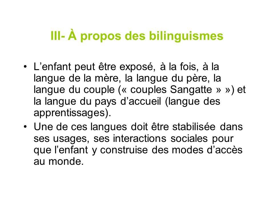 III- À propos des bilinguismes Lenfant peut être exposé, à la fois, à la langue de la mère, la langue du père, la langue du couple (« couples Sangatte