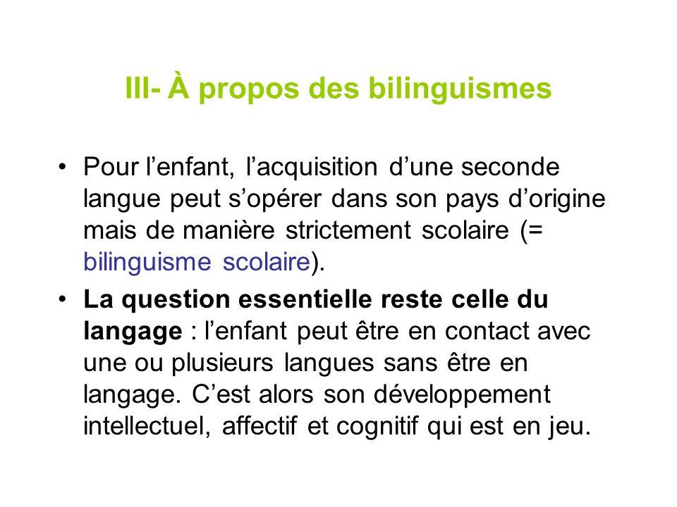 III- À propos des bilinguismes Pour lenfant, lacquisition dune seconde langue peut sopérer dans son pays dorigine mais de manière strictement scolaire