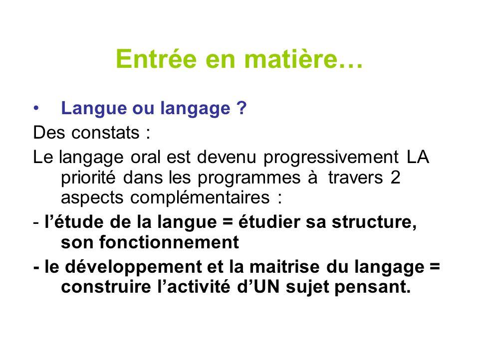 Entrée en matière… Langue ou langage ? Des constats : Le langage oral est devenu progressivement LA priorité dans les programmes à travers 2 aspects c