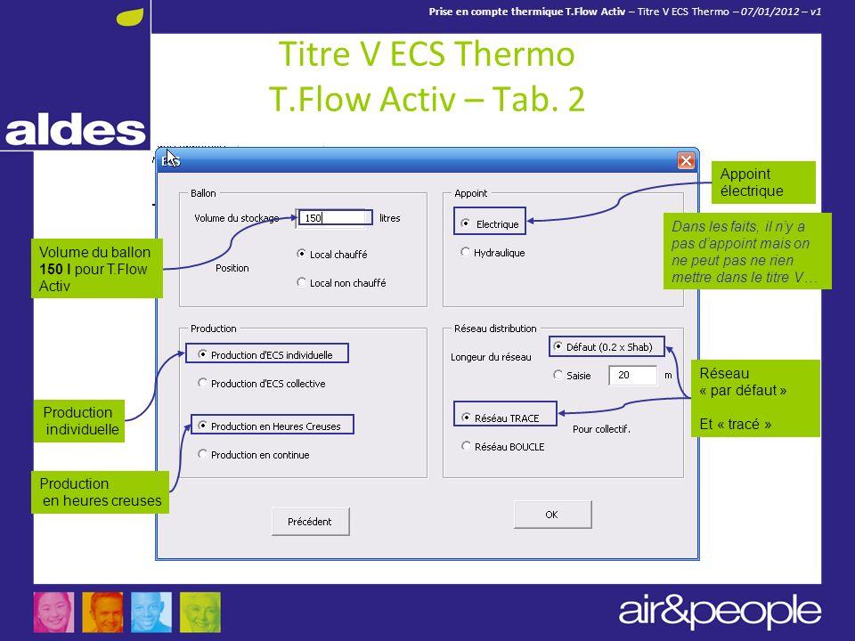 Prise en compte thermique T.Flow Activ – Titre V ECS Thermo – 07/01/2012 – v1 Titre V ECS Thermo T.Flow Activ – Tab. 2 Volume du ballon 150 l pour T.F