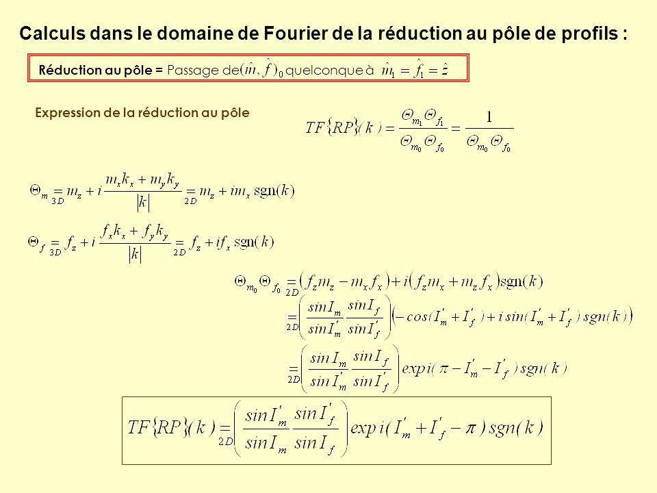 Réduction au pôle = Passage de quelconque à Calculs dans le domaine de Fourier de la réduction au pôle de profils : Expression de la réduction au pôle