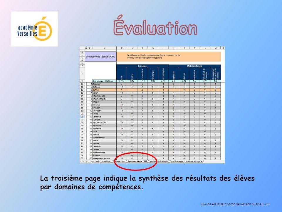 La troisième page indique la synthèse des résultats des élèves par domaines de compétences. Claude MOINE Chargé de mission SI1D 01/09