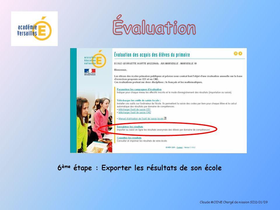 6 ème étape : Exporter les résultats de son école