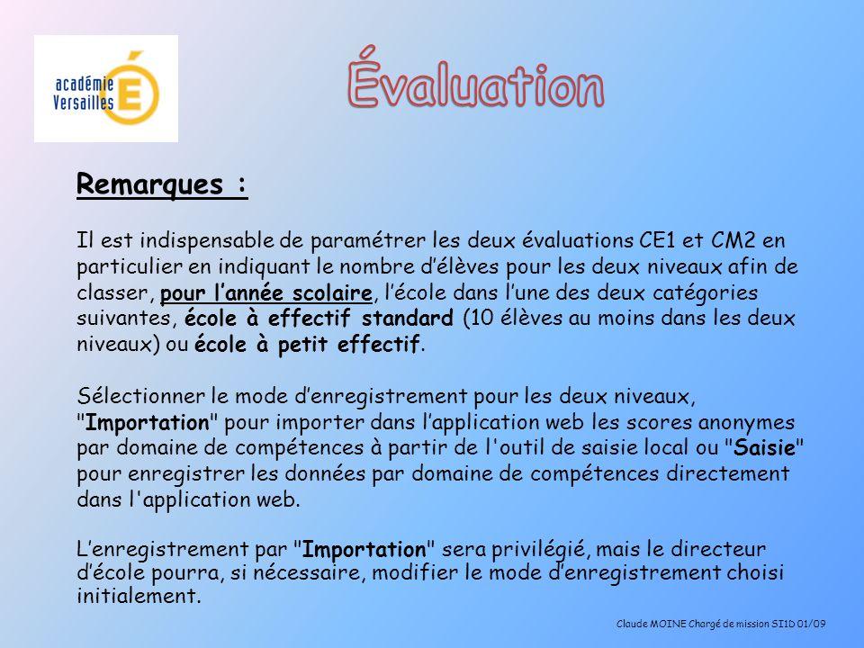 5 ème étape : Enregistrement des résultats : Fichier => Enregistrer sous => Indiquer un nom de fichier (la date par exemple) Choisir le format CSV Claude MOINE Chargé de mission SI1D 01/09